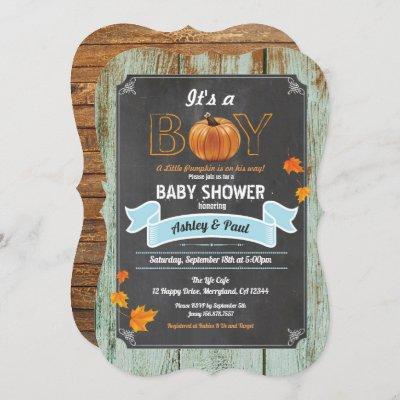 Pumpkin baby shower invitation rustic wood chalk