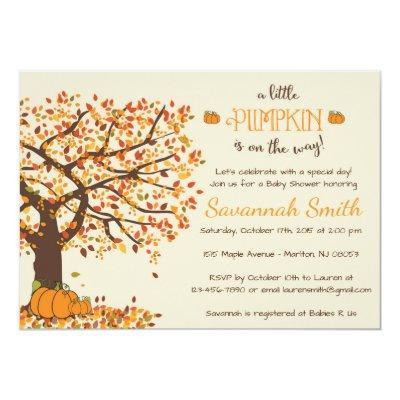 Pumpkin Baby Shower Invitations - Little Pumpkin