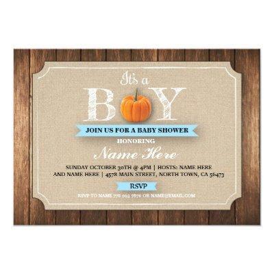Pumpkin Baby Shower It's a Boy Burlap Blue Invite