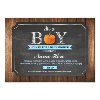 Pumpkin Baby Shower It's a Boy Wood Invitations