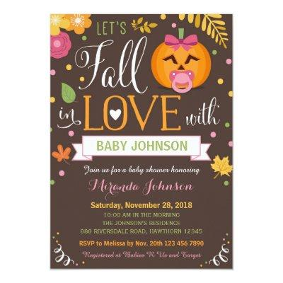Pumpkin Baby Shower, Let's Fall In Love Invitations