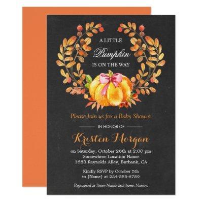 Pumpkin | Rustic Autumn Chalkboard Invitations