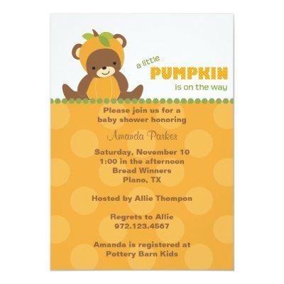 Pumpkin Bear Invitations
