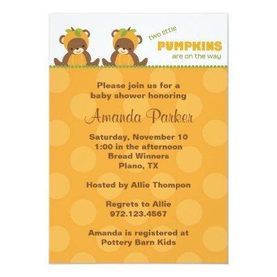 Pumpkin Bear Baby Shower Invitation