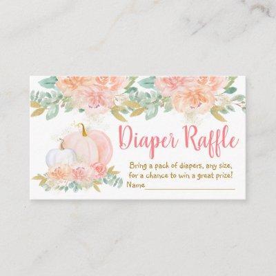 Pumpkin Blush Floral Baby Shower Diaper Rafffle Enclosure Card