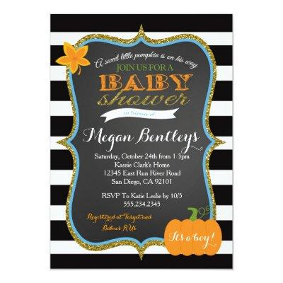 Pumpkin Boy Baby Shower Invitationss