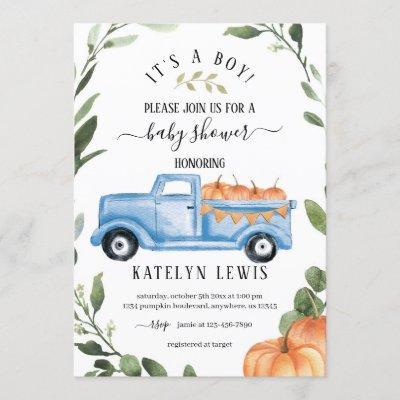 Pumpkin Boy Baby Shower Invitation with truck
