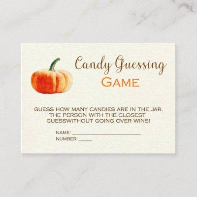 Pumpkin Candy Guessing Game Card Baby Shower Game