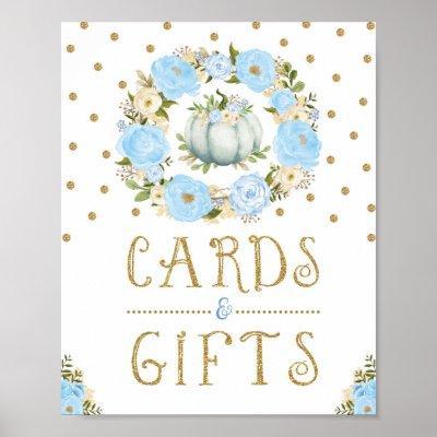 Pumpkin Cards & Gifts Boy Baby Shower Blue Floral Poster