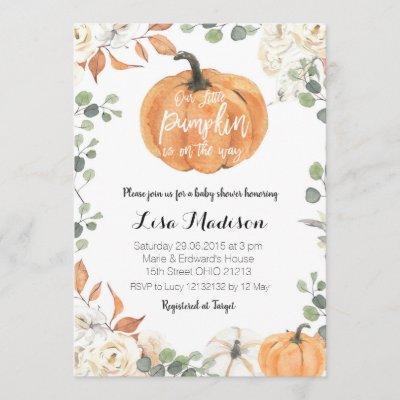 Pumpkin eucalyptus gender neutral baby shower Fall Invitation