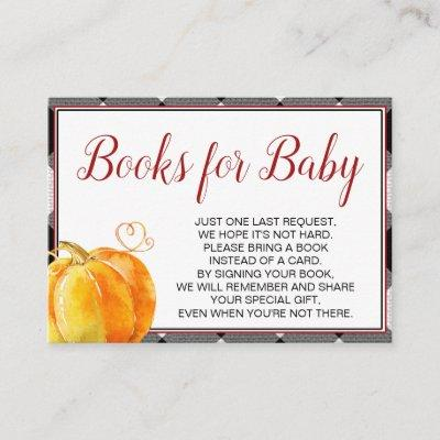 Pumpkin Fall Baby Shower Books for Baby Enclosure Card