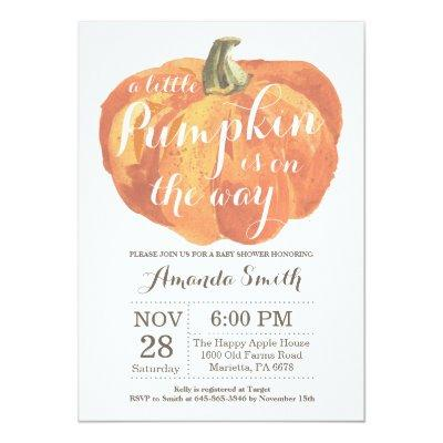 Pumpkin Fall Baby Shower Invitations