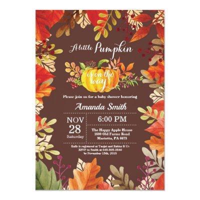 Pumpkin Fall Baby Shower Invitation