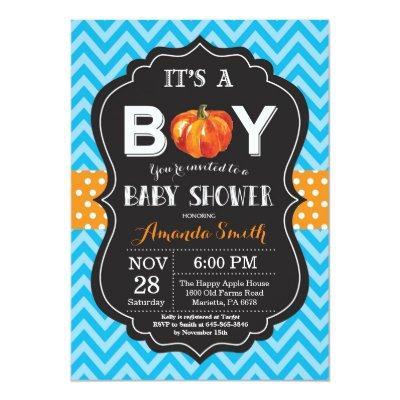 Pumpkin Fall Baby Shower Invitation Blue Chevron