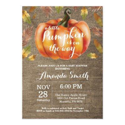 Pumpkin Fall Baby Shower Invitation Burlap