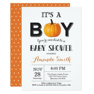 Pumpkin Fall Baby Shower Invitations Card