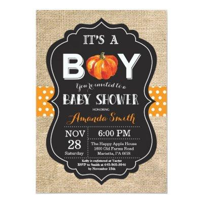Pumpkin Fall Baby Shower Invitation Card Burlap