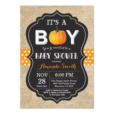 Pumpkin Fall Invitation Invitations Burlap
