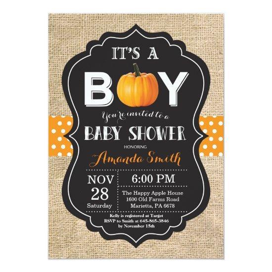 Pumpkin Fall  Invitations Burlap