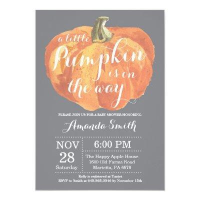 Pumpkin Fall Baby Shower Invitation Gray