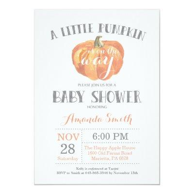 Pumpkin Fall Invitations Orange Gray