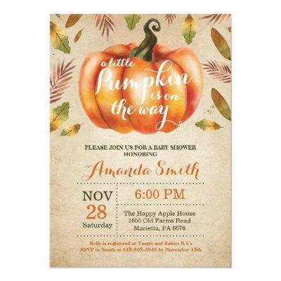 Pumpkin Fall Baby Shower Invitation Rustic Vintage