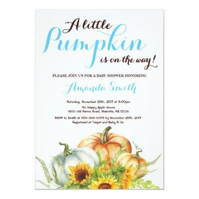 Pumpkin Fall Boy Baby Shower Invitation