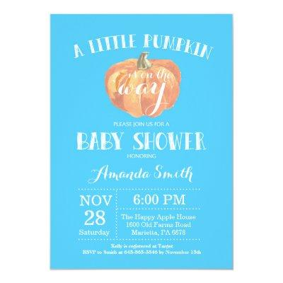 Pumpkin Fall Boy Baby Shower Invitation Blue