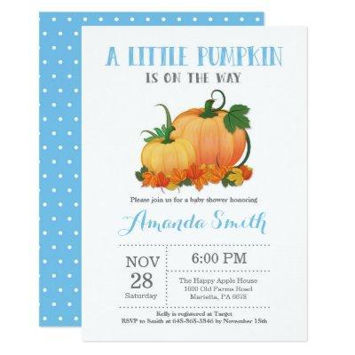 Pumpkin Fall Boy Baby Shower Invitation Card