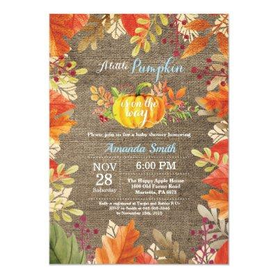 Pumpkin Fall Burlap Boy Baby Shower Invitations