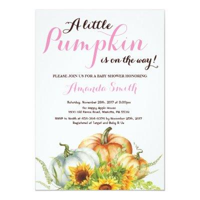 Pumpkin Fall Girl Baby Shower Invitation