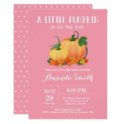Pumpkin Fall Girl Baby Shower Invitation Card
