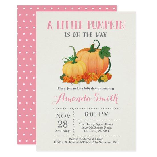 Pumpkin Fall Girl Baby Shower Invitations Card