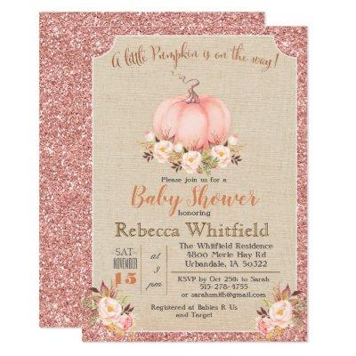 Pumpkin Floral Glitter Baby Shower Invitation