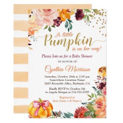 Pumpkin Girl Baby Shower Gold Autumn Fall Floral Invitation