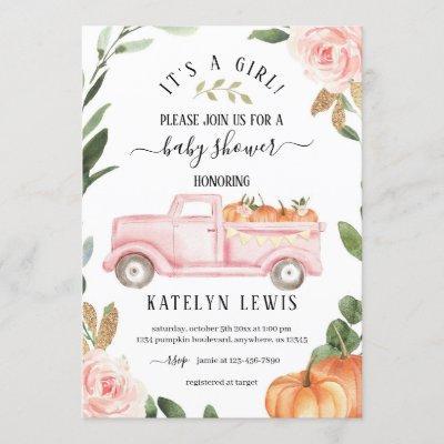 Pumpkin Girl Baby Shower Invitation