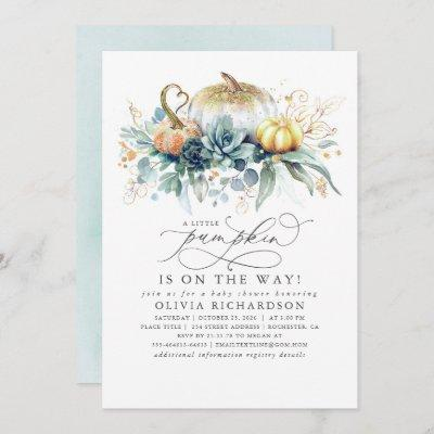 Pumpkin is on the Way Succulents Fall Baby Shower Invitation