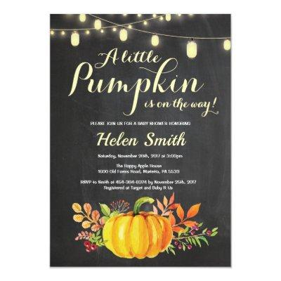 Pumpkin Mason Jar String Lights Baby Shower Invitation