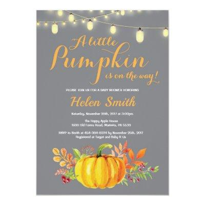 Pumpkin Mason Jar String Lights Baby Shower Invitations