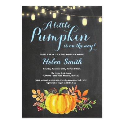 Pumpkin Mason Jar String Lights Boy Baby Shower Invitation