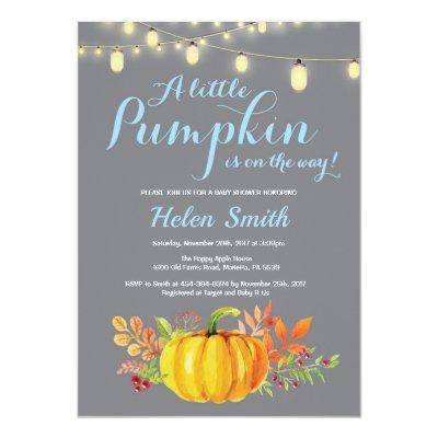 Pumpkin Mason Jar String Lights Boy Baby Shower Invitations