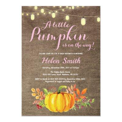 Pumpkin Mason Jar String Lights Burlap Baby Shower Invitations