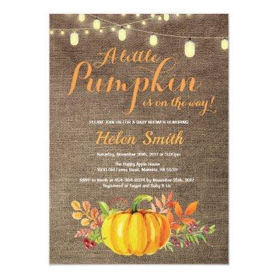 Pumpkin Mason Jar String Lights Burlap Baby Shower Invitations