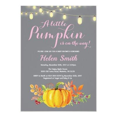 Pumpkin Mason Jar String Lights Girl Baby Shower Invitations