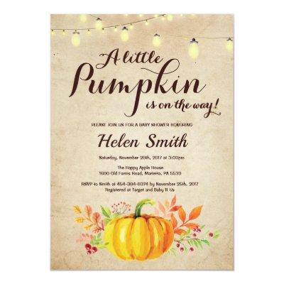 Pumpkin Mason Jar String Lights Vintag Baby Shower Invitation