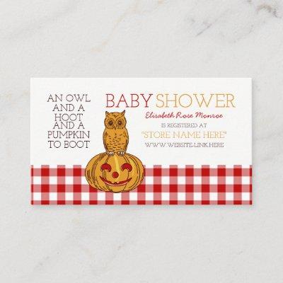 Pumpkin Owl & Gingham Baby Shower Gift Registry Enclosure Card