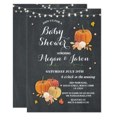Pumpkin Party Baby Shower Fall Rustic Chalk Invite