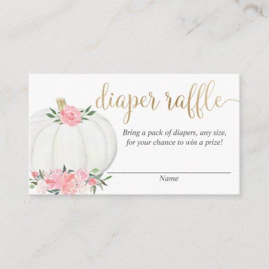 Pumpkin pink gold elegant fall diaper raffle cards