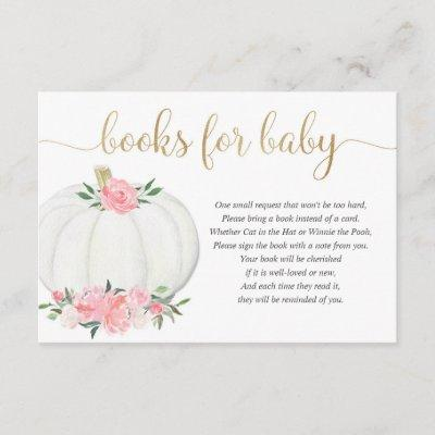 Pumpkin pink gold floral girl books for baby enclosure card