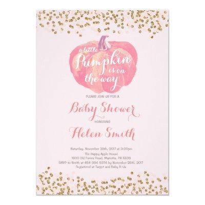 Pumpkin Pink Gold Girl Baby Shower Invitations